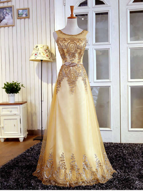 A-line Scoop Floor Length Taffeta Evening Dress Sequins