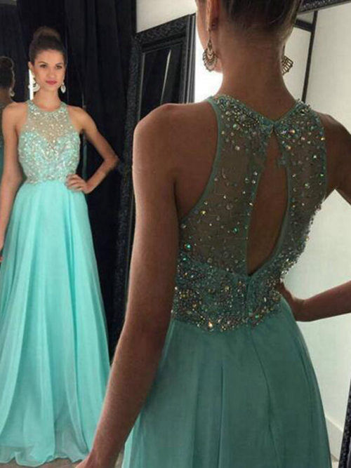 Nice A-line Jewel Chiffon Long Evening Dress Beads