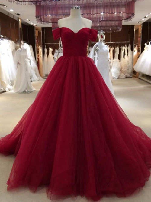 A-line Off Shoulder Organza Red Evening Gown
