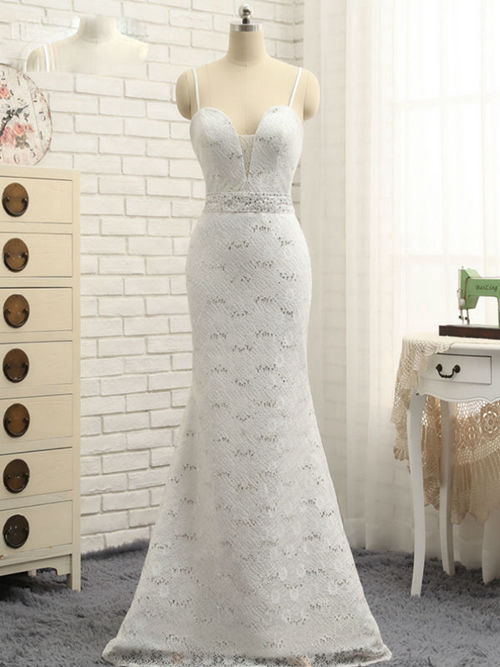 Mermaid Spaghetti Straps Lace Long Evening Dress Beads