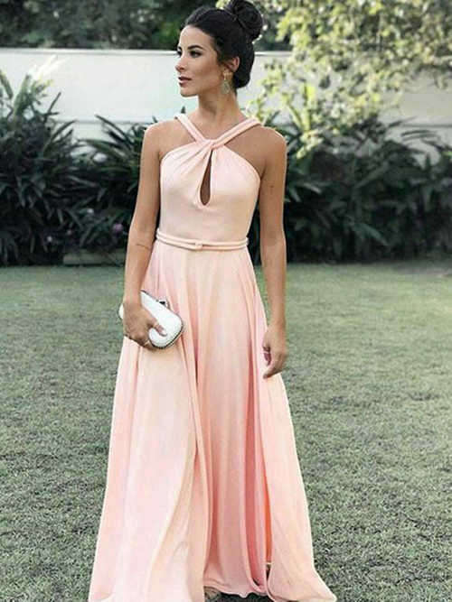 A-line Halter Chiffon Long Evening Dress