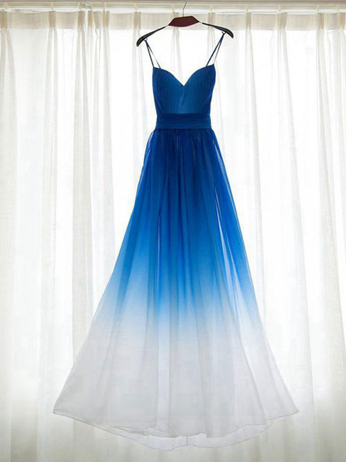 A-line Spaghetti Straps Chiffon Long Ombre Evening Dress