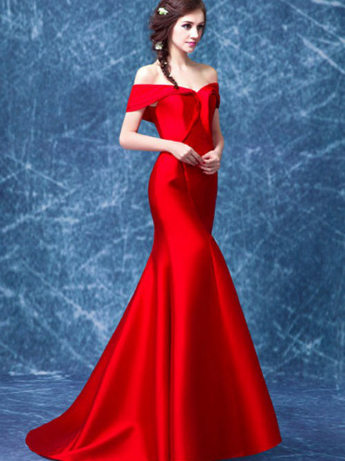 Mermaid Off Shoulder Brush Train Satin Evening Gown