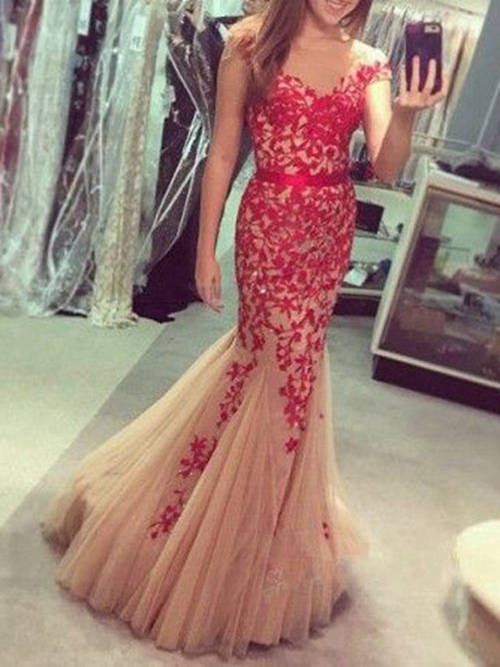 Mermaid Off Shoulder Lace Tulle Long Evening Dress