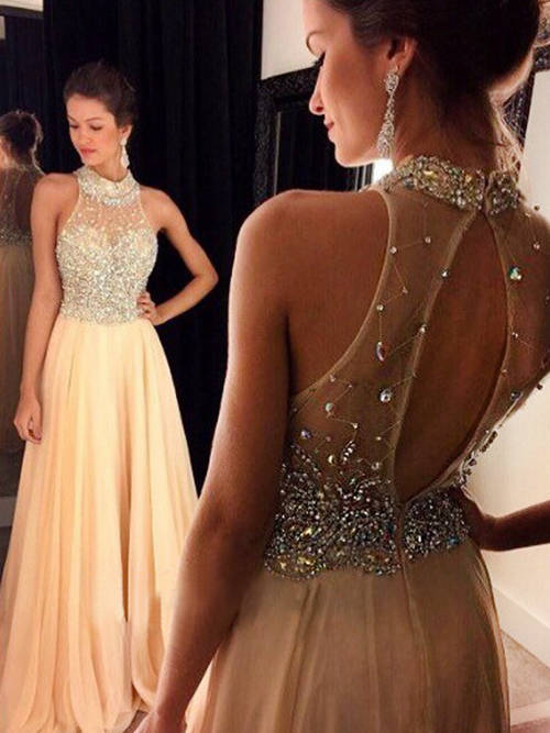 A-line Halter Chiffon Evening Gown Beads