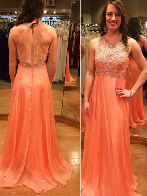 A-line Halter Chiffon Formal Gown Beads