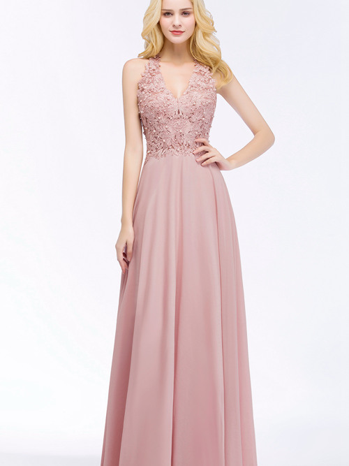 A-line Halter Chiffon Lace Formal Dress