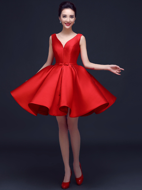 Ball Gown Straps Satin Cocktail Dress