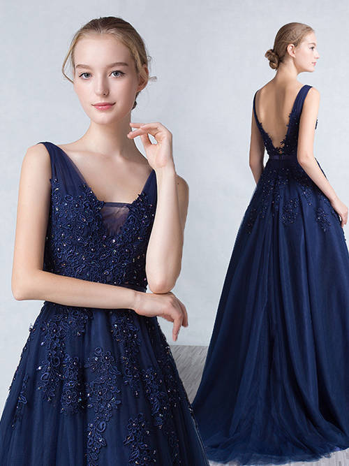 A-line Straps Tulle Evening Dress Beads Applique