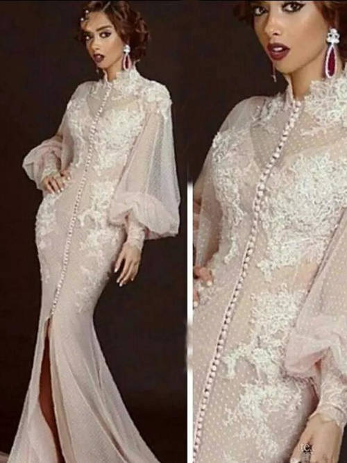 Mermaid High Neck Lace Sleeves Evening Wear Slit