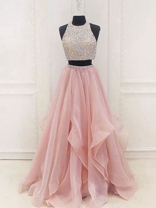 A-line Jewel Floor Length Tulle Sequins Evening Gown