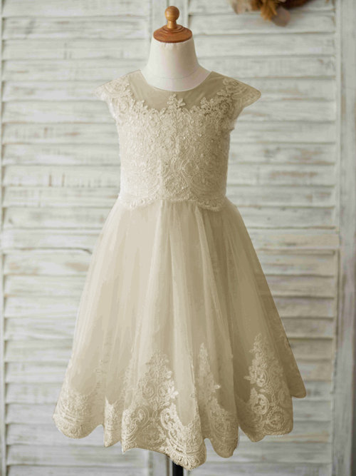A-line Scoop Lace Tulle Flower Girl Dress