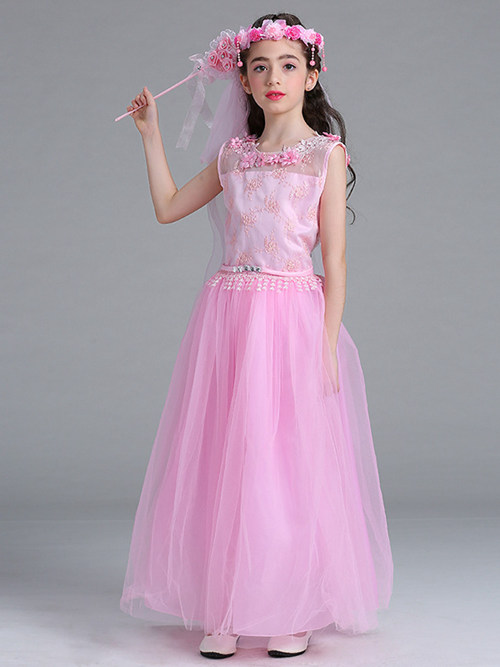 A-line Scoop Lace Tulle Flower Girl Dress Flowers