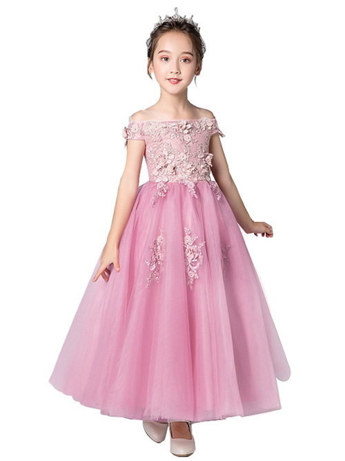 A-line Off Shoulder Tulle Flower Girl Dress Appliques
