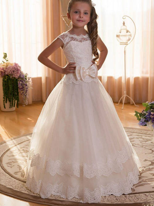 A-line Bateau Lace Tulle Flower Girl Dress Bowknot
