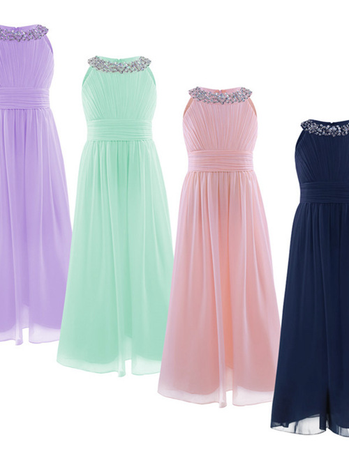 A-line Scoop Chiffon Flower Girl Dress Beads
