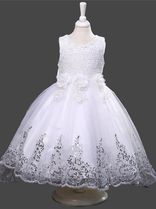 Ball Gown Scoop Tulle Sequins Infant Dress Flowers