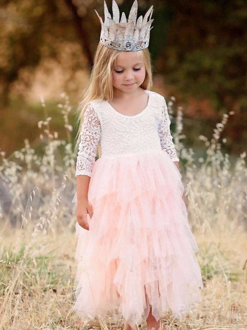 A-line Scoop Lace Sleeves Flower Girl Dress Ruffles