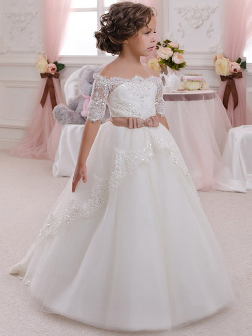 A-line Off Shoulder Tulle Lace Sleeves Dress Bowknot