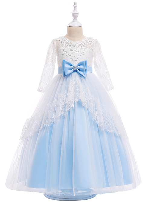 A-line Jewel Lace Sleeves Tulle Flower Girl Dress Bowknot