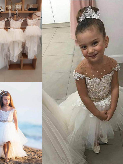 A-line Scoop Lace Tulle Hi Lo Flower Girl Dress