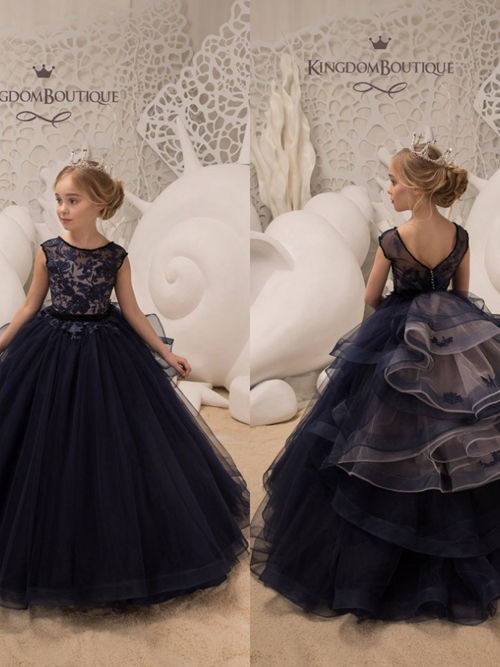 A-line Scoop Lace Organza Flower Girl Dress