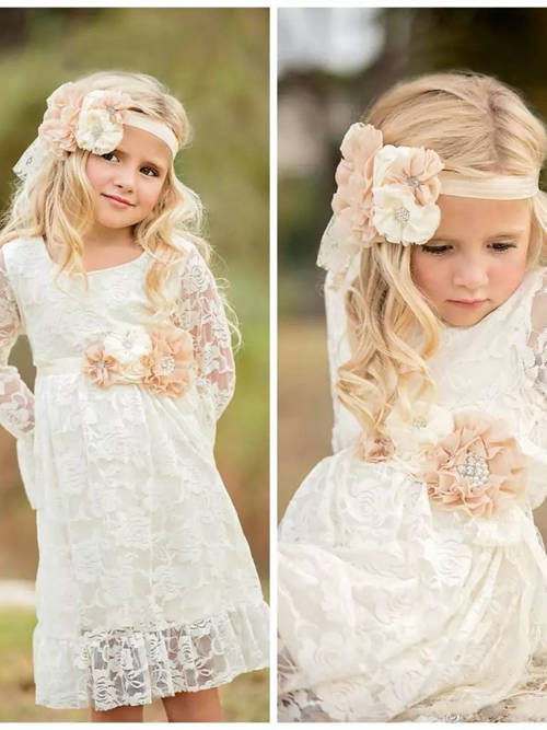 A-line Scoop Lace Sleeves Flower Girl Dress