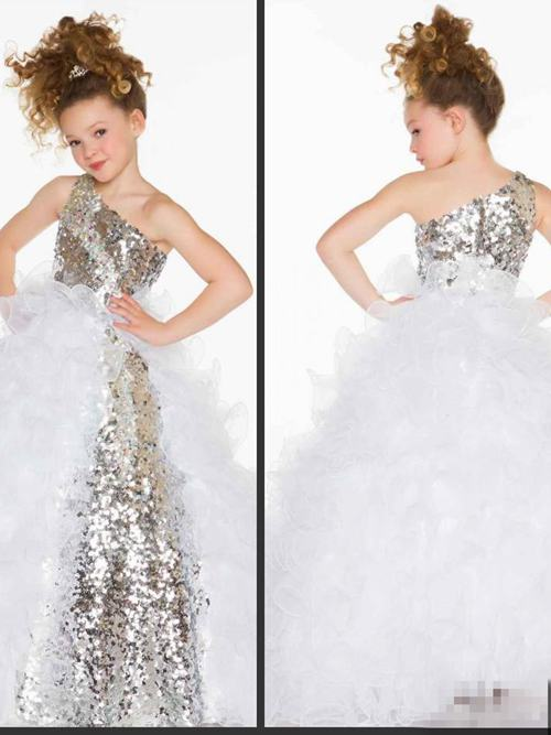 A-line One Shoulder Organza Sequins Flower Girl Dress Ruffles