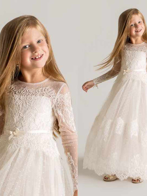 A-line Jewel Lace Sleeves Flower Girl Dress