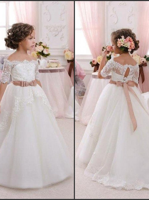 A-line Off Shoulder Lace Sleeves Tulle Flower Girl Dress