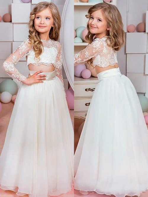 A-line Jewel Lace Sleeves Chiffon 2 Piece Flower Girl Dress