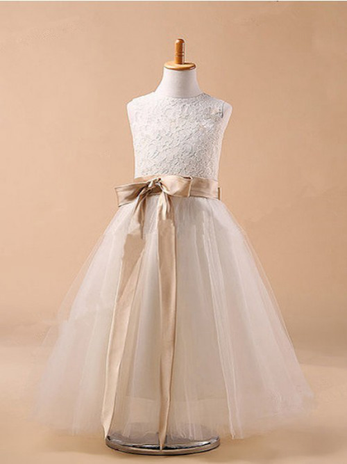 A-line Jewel Tulle Lace Flower Girl Dress Sash
