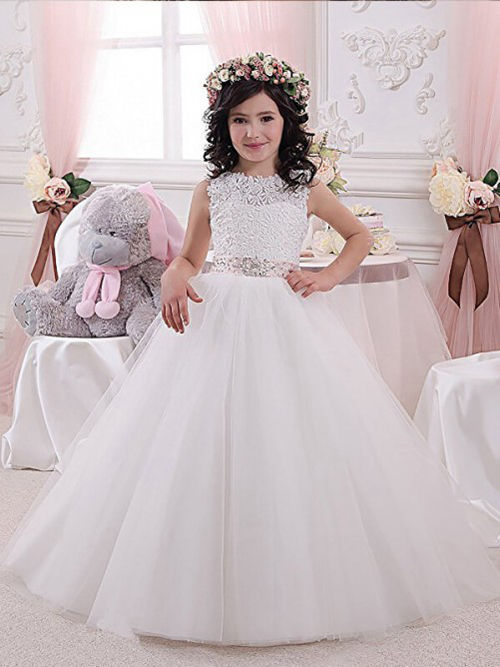 A-line Jewel Lace Tulle Flower Girl Dress