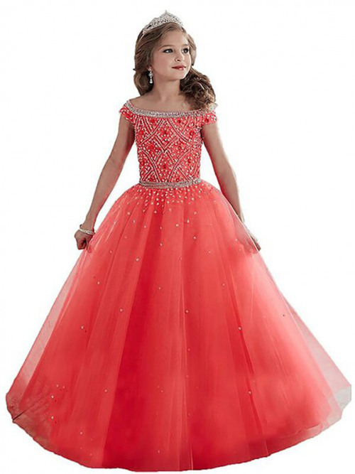 A-line Off Shoulder Tulle Flower Girl Dress Beads