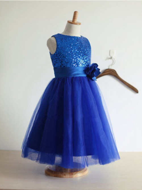 A-line Jewel Tulle Sequins Flower Girl Dress