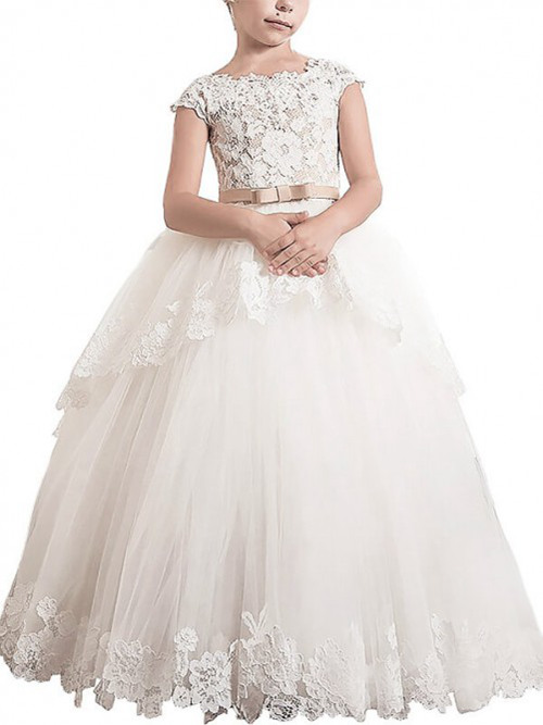 A-line Bateau Lace Tulle Flower Girl Dress