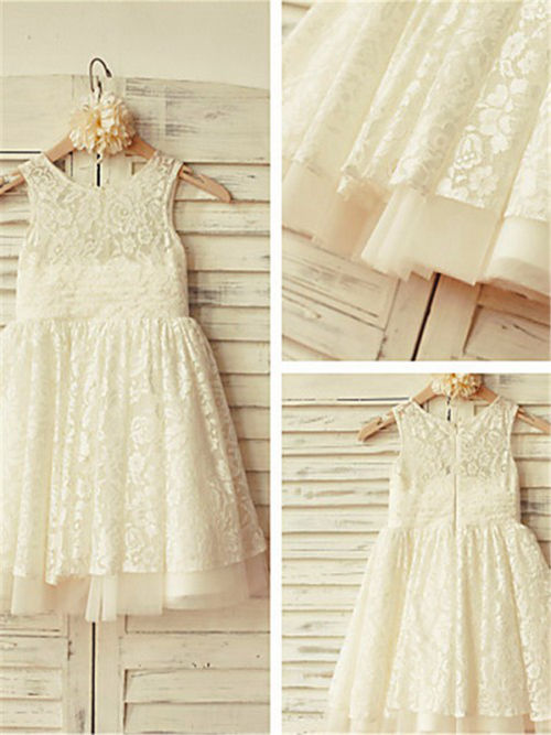 A-line Scoop Lace Flower Girl Dress