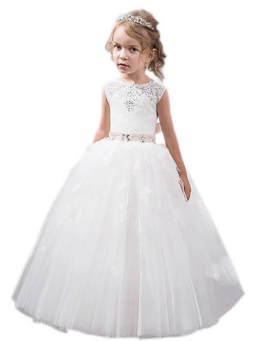 A-line Jewel Tulle Lace Flower Girl Dress