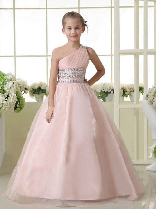 A-line One Shoulder Tulle Flower Girl Dress Beads