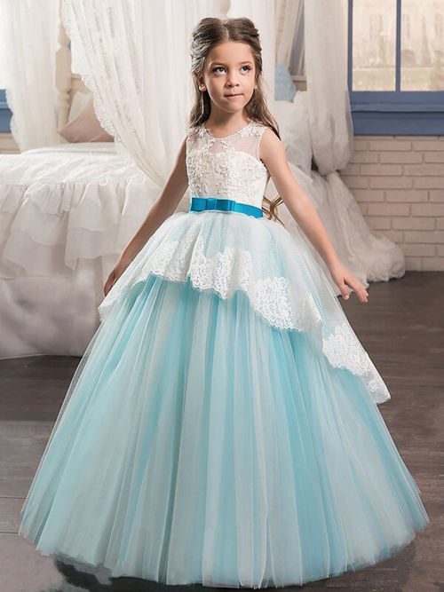 A-line Jewel Lace Sleeves Tulle Flower Girl Dress