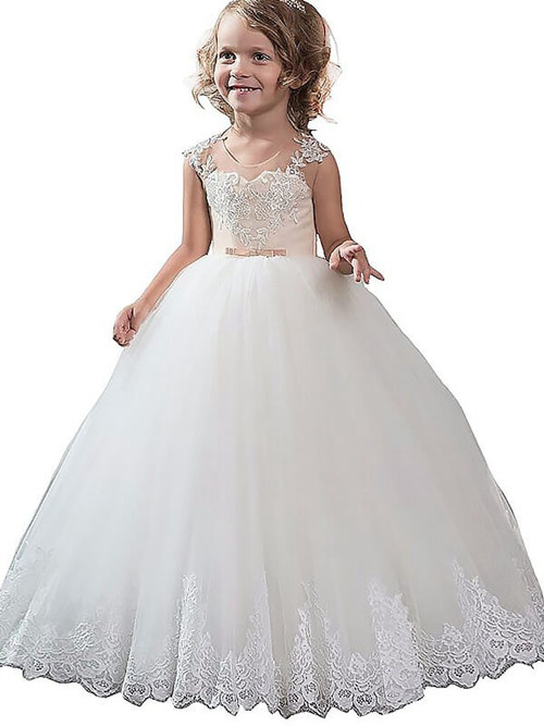 Ball Gown Scoop Tulle Flower Girl Dress Appliques