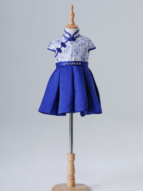 A-line High Neck Satin Flower Girl Dress Embrodiery