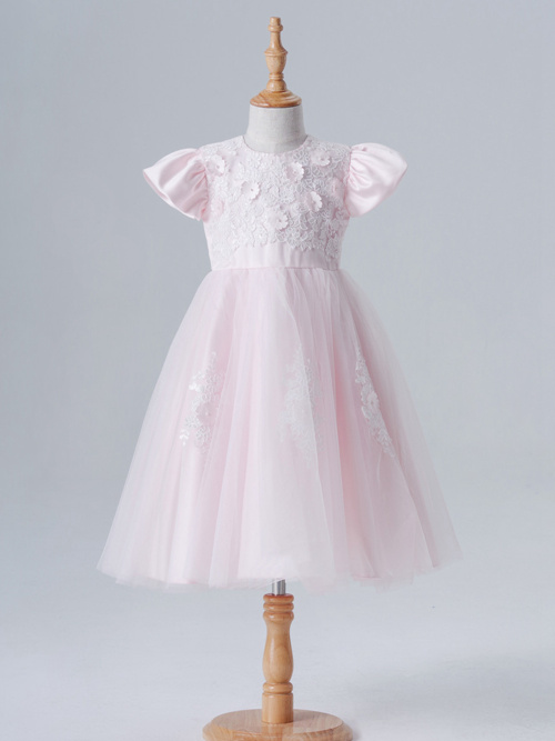 A-line Jewel Tulle Satin Sleeves Dress Applique