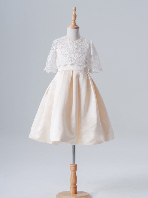 A-line Jewel Lace Sleeves Satin Flower Girl Dress