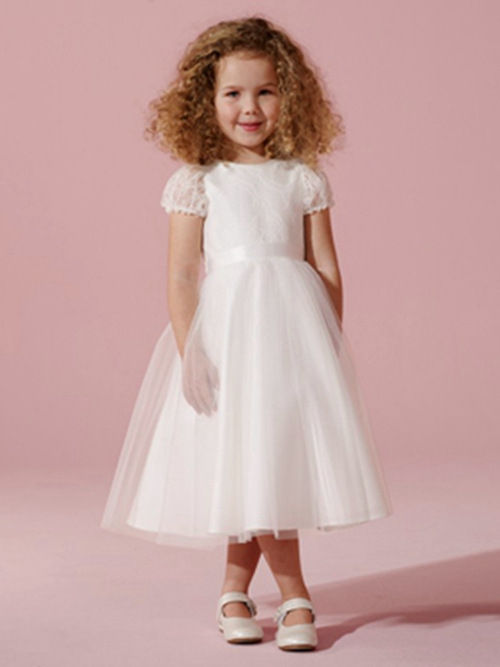 A-line Jewel Tea Length Tulle Flower Girl Dress With Lace