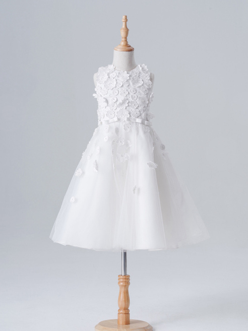 A-line Jewel Tulle Flower Girl Dress Applique