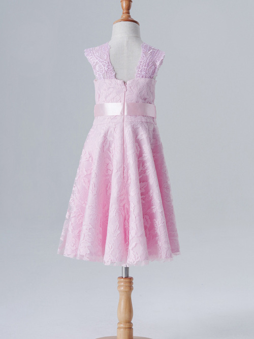 A-line Jewel Lace Flower Girl Dress Bowknot