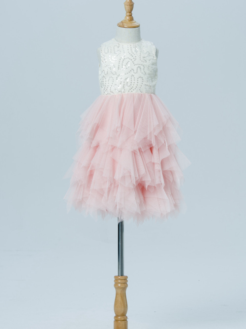 A-line Jewel Tulle Flower Girl Dress Sequins