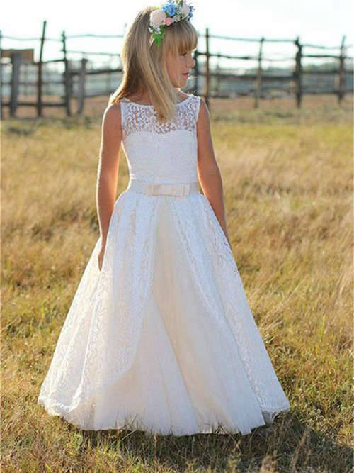 A-line Scoop Floor Length Lace Flower Girl Dress