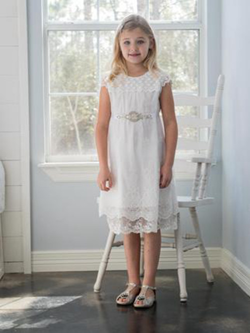 A-line Jewel Lace Junior Bridesmaid Dress Beads